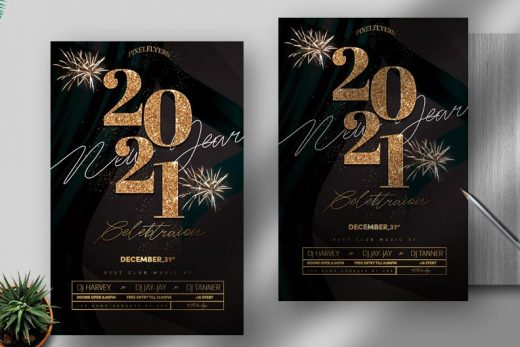 New Year 2021 Event Free Flyer Template (PSD)