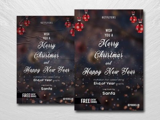 New Year 2021 & Christmas Eve Free Flyer Template (PSD)