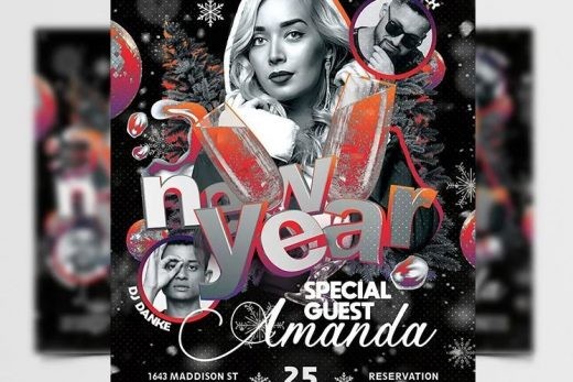 New Year Eve Party Free Flyer Template (PSD)
