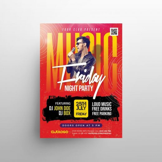 Night Club Friday Free Flyer Template (PSD)