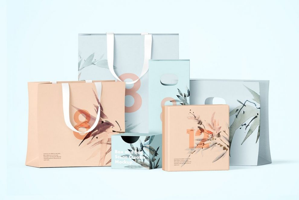 Paper Bags and Box Free Mockup