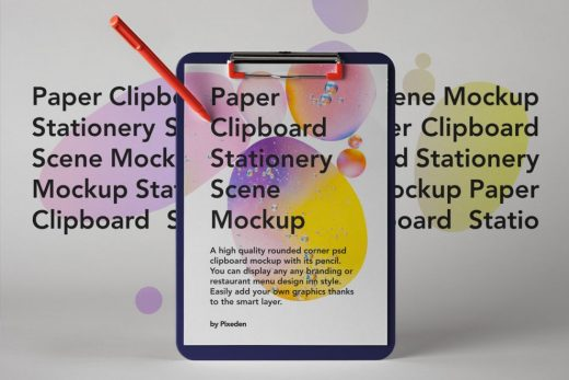 Paper Clipboard Scene Mockup