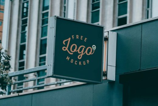 Square Shop Signage Board Free Mockup