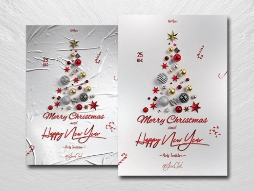 White Christmas Party Free Flyer Template (PSD)