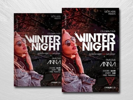 Winter DJ Party Free Flyer Template (PSD)