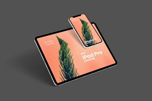 Free Floating iPhone 12 & iPad Pro Mockup