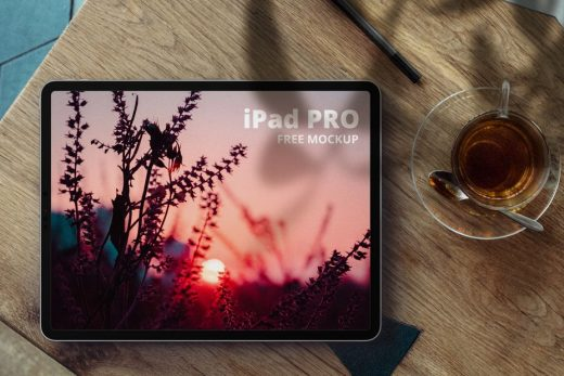 iPad Pro in Desk Free Mockup