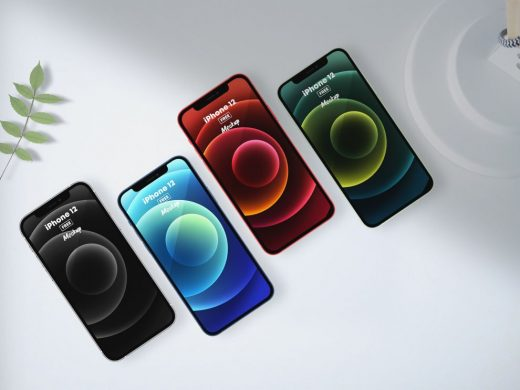 iPhone 12 All Colors Free Mockup (PSD)