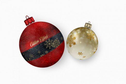 2 Christmas Ball Free Mockup
