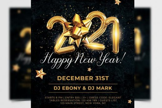2021 Elegant NYE Party Free Flyer Template (PSD)