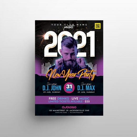 2021 NYE Electro Party Free Flyer Template (PSD)