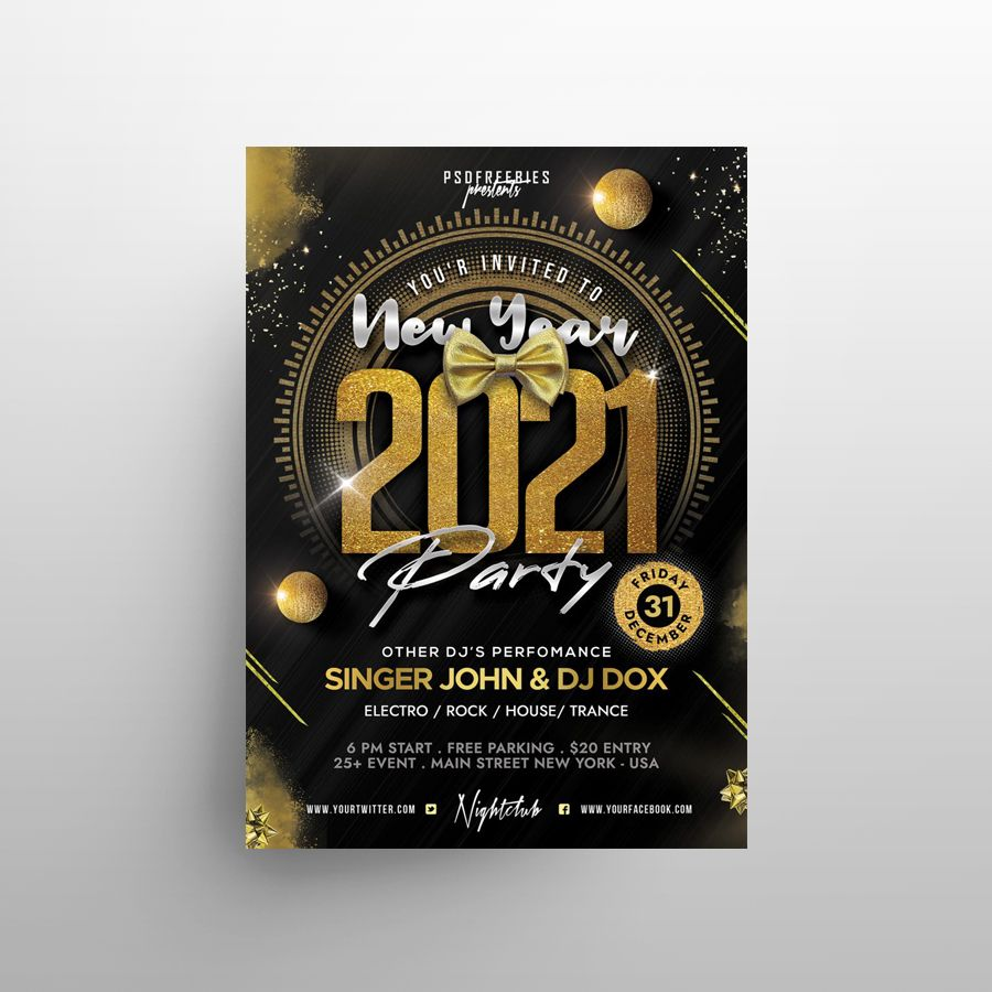 2021 New Year Eve Party Free Flyer Template (PSD)