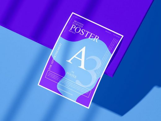 A3 Curved Poster Free Mockup