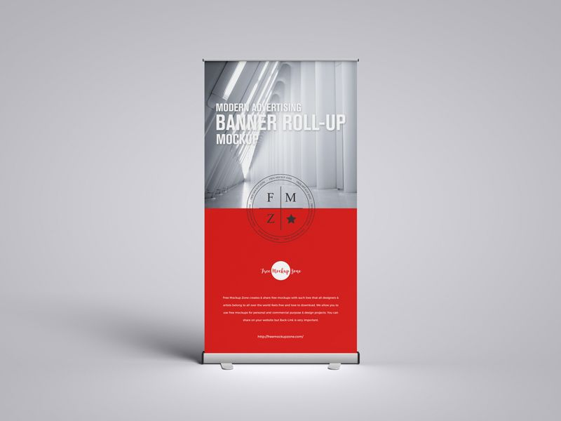 Advertising Banner Roll-Up Free Mockup