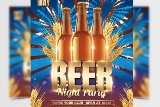 Beer Party Night Free Flyer Template (PSD)