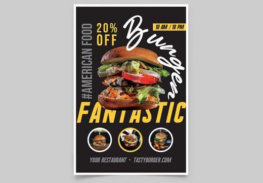 Burger Ad Offer Free Menu Flyer Template (PSD)