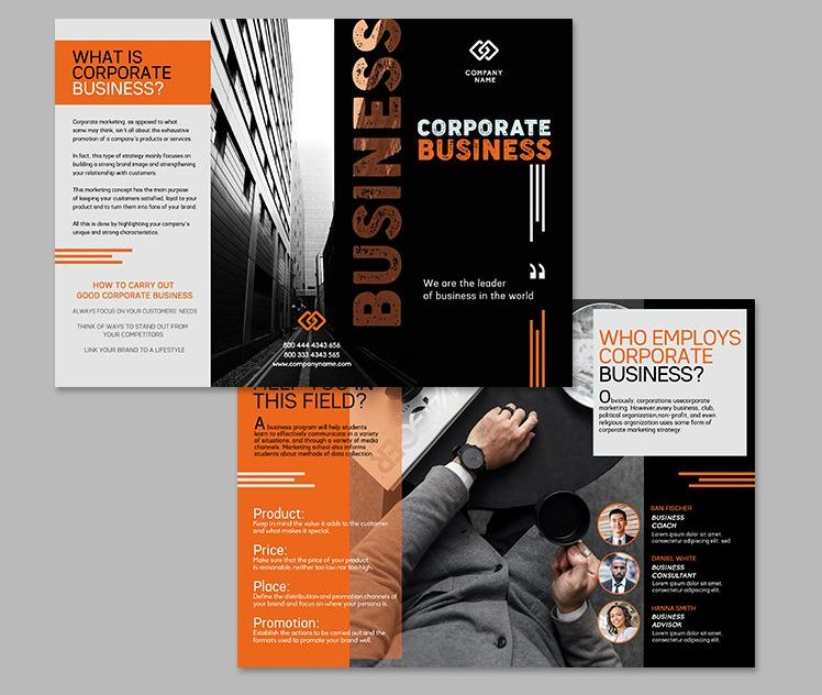 Business Service Free Tri-Fold Brochure Template (PSD)