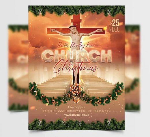 Church Christmas Event Free Flyer Template (PSD)