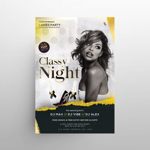 Classy Night Event Free Flyer Template (PSD)