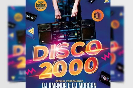 Disco 2000 Party Free Flyer Template (PSD)