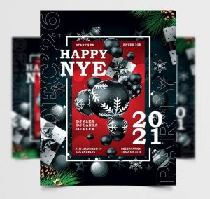 Free 2021 New Year Party Invitation PSD Template
