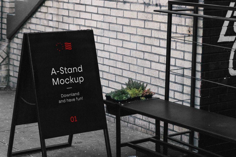 Free A-Stand Mockup (PSD)