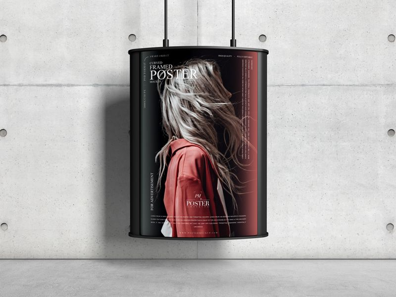 Free Curved Framed Poster Mockup
