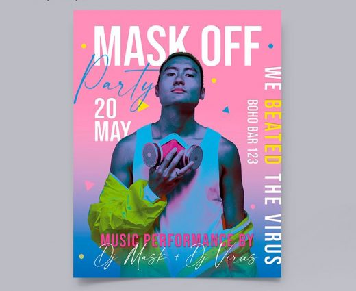 Free Mask Off Party DJ Flyer Template (PSD)