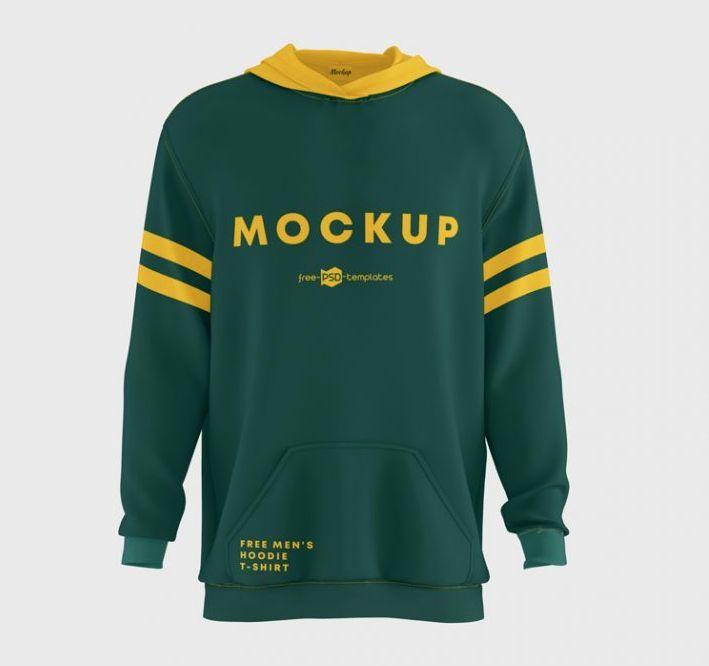 Free Men's Hoodie T-Shirt Mockup