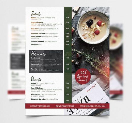 Free Modern Restaurant Menu Flyer Template (PSD)