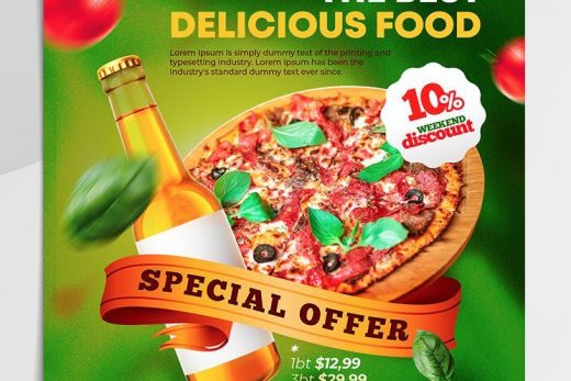 Free Pizza Ad Instagram Banners Templates (PSD)