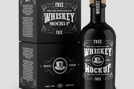 Free Whiskey Bottle with Box Mockup