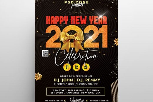Happy 2021 NYE Free Flyer Template (PSD)