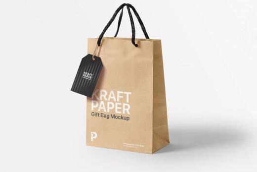 Kraft Paper Gift Bag Free Mockup (PSD)