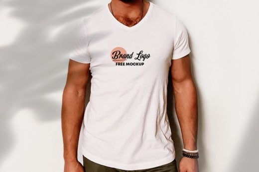 Logo on V Neck T-Shirt Free Mockup