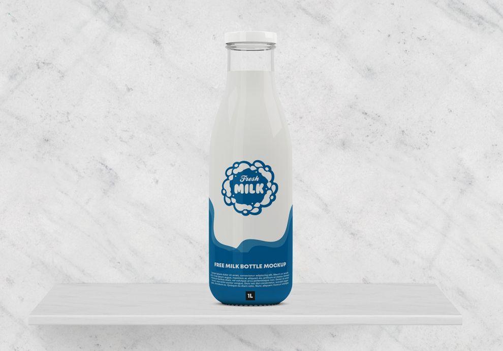 Milk Bottle Free Mockup