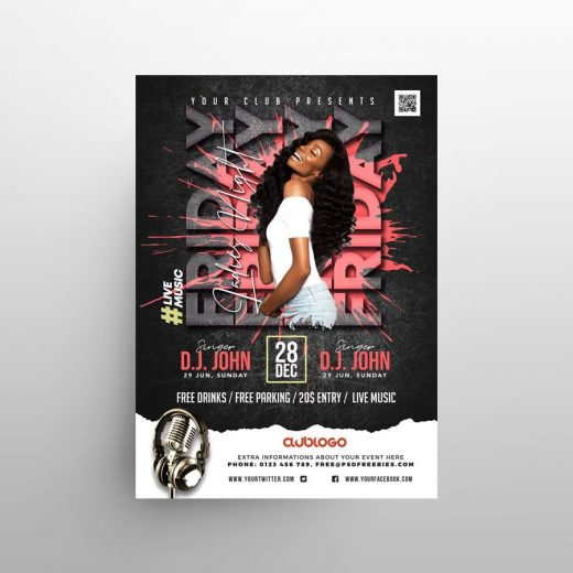 Modern Party Event Free Flyer Template (PSD)