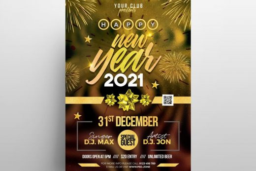 NYE 2021 Party Free Flyer Template (PSD)