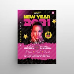 NYE Club Party Free Flyer Template (PSD)