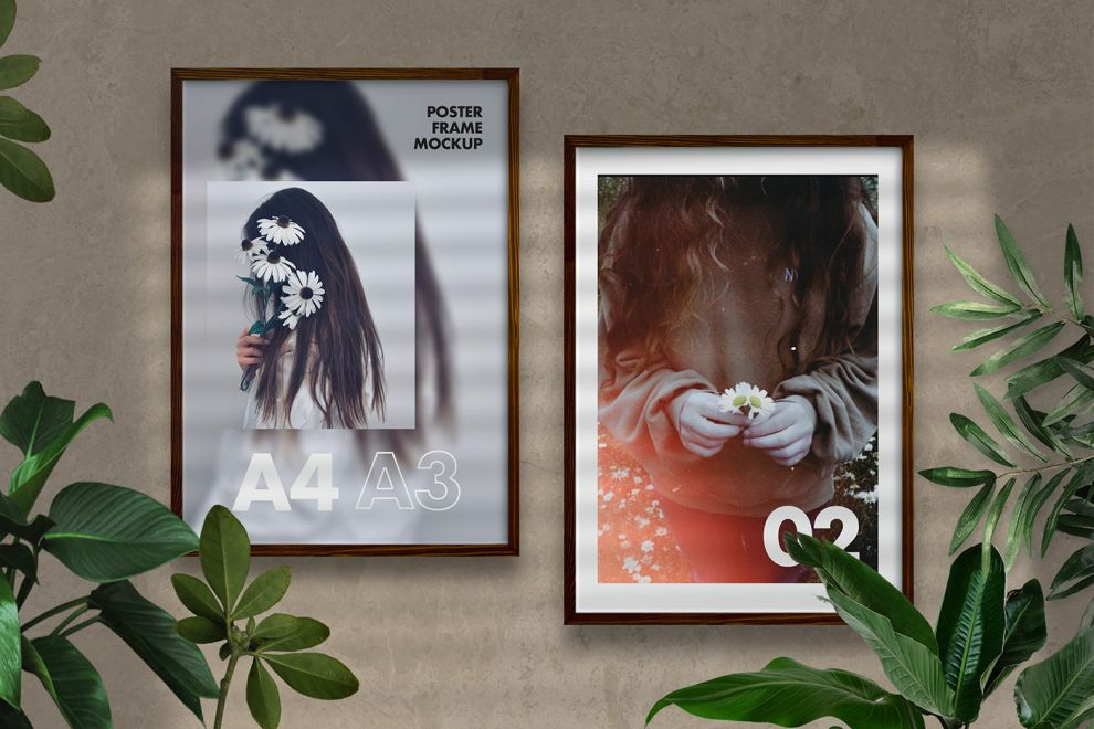 Natural Poster Frames Free Mockup