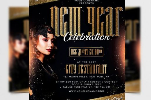 New Year Celebration Free Flyer Template (PSD)