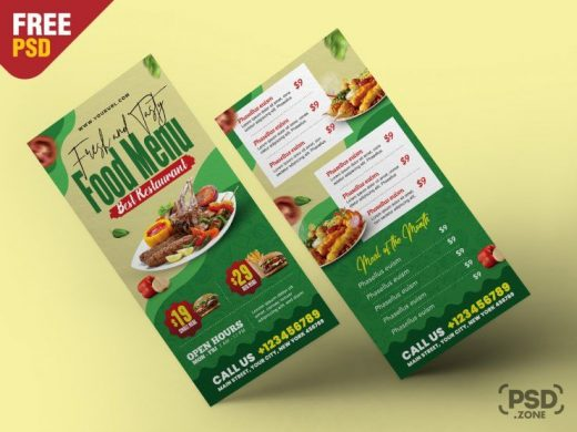 Restaurant Food DL Menu Free Template