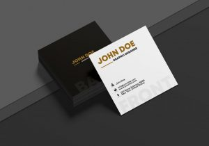 Square Business Card Free Mockup