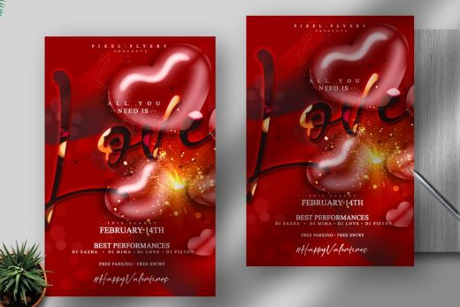 Valentine's Day 2021 Free Flyer Template (PSD)