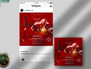 Valentine's Day Free Instagram Banner Template (PSD)