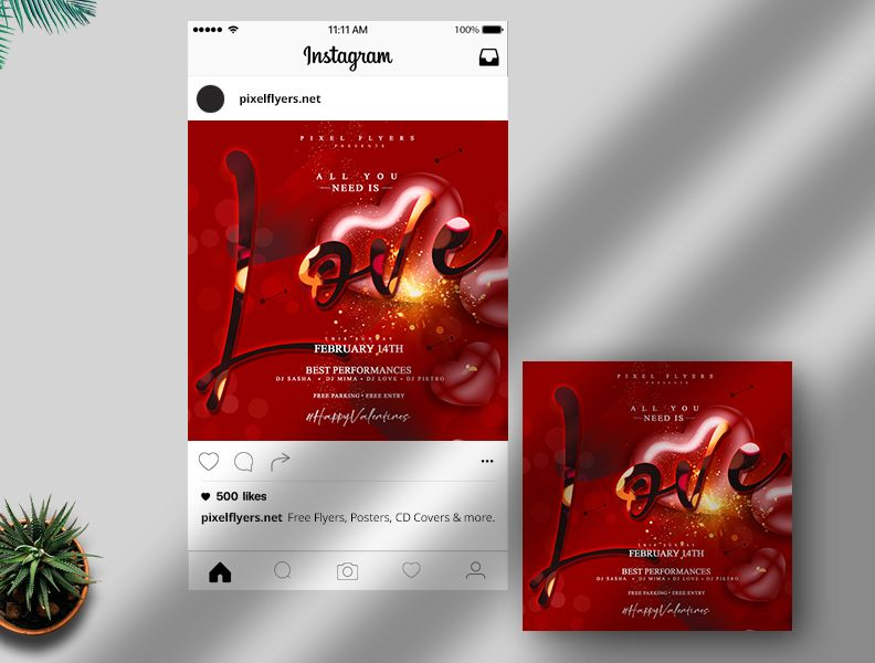 Valentine's Day Free Instagram Banner Template (PSD)