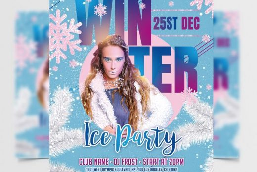 Winter Ice Party Free Flyer Template (PSD)