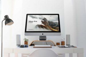 iMac Pro in Desk Free Mockup