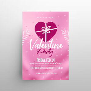 Clean Valentine's Party Free Flyer Template (PSD)