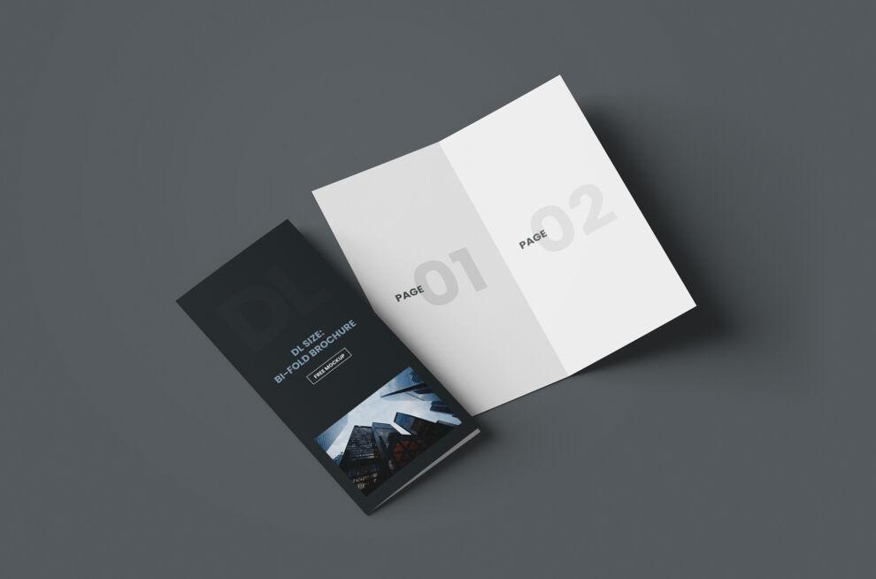 DL Bi-Fold Brochure Free Mockup